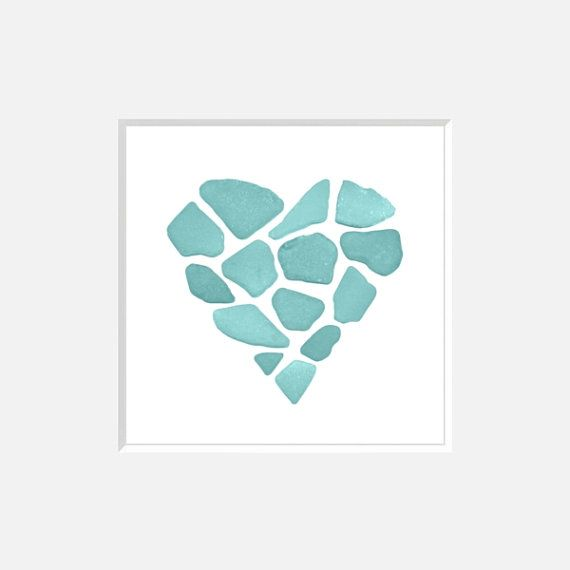 Aqua Turquoise Beachcomber's Sea Glass - Geometric, Heart - Valentine's day Digitally Altered Photograph, Wall Art, Home Decor, ORIGINAL on Etsy, $19.24