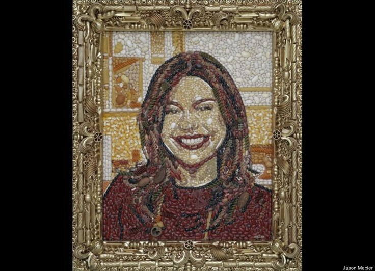 Food-inspired celebrity portraits: Rachael Ray in Pasta: Celebrity, Rachel Ray, Jason Mecier, Mosaic, Portraits, Rachael Ray, Food Art, Pasta Portrait