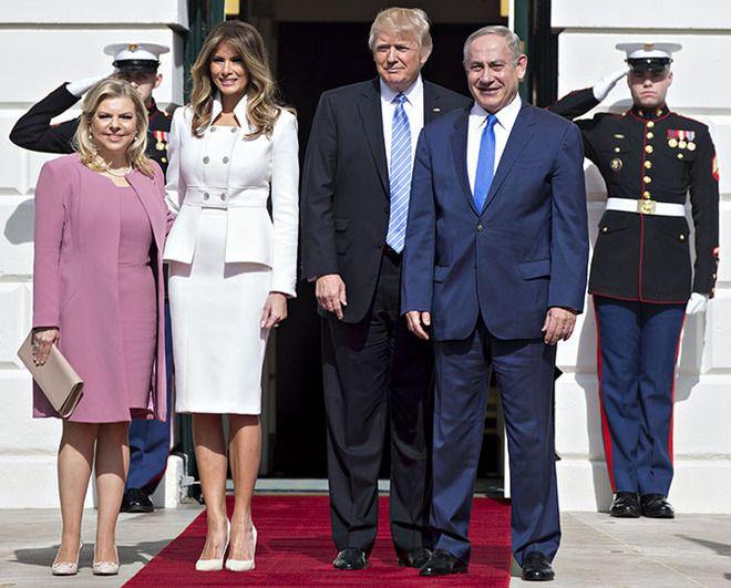 Сара Нетаньяху, Меланья Трамп, Дональд Трамп и Биньямин Нетаньяху
