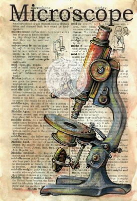 Microscope Mixed Media Drawing on Distressed, Dictionary Page - available for purchase at www.etsy.com/shop/flyingshoes - flying shoes art studio