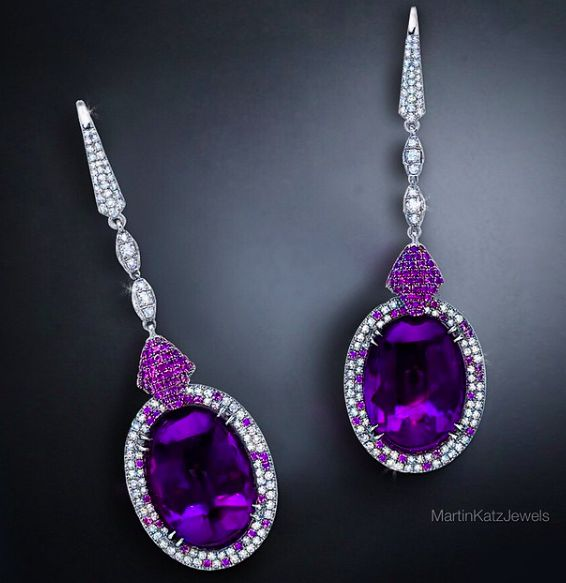 Martin Katz diamonds and amethyst earrings.