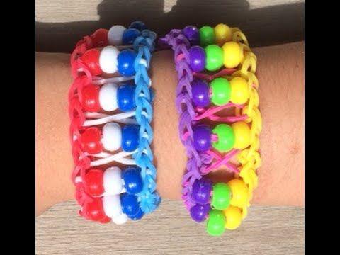 Maak een Loom voetbal armband met kralen in de kleur van de Nederlandse vlag.