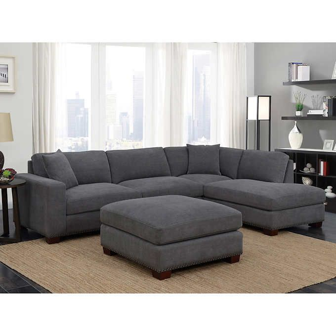 Incredible Kyra Fabric Sectional With Ottoman In 2019 Sectional Sofa Andrewgaddart Wooden Chair Designs For Living Room Andrewgaddartcom