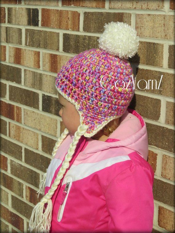 eb25ad6bc Ear Flap hat, Cotton Candy multi colored pink tones with faux fur ...