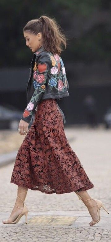 floral embroidered leather jacket with a printed full skirt