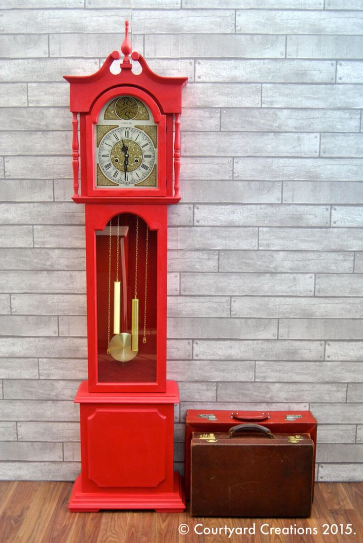 Quirky Upcycled Painted Furniture | Hand Painted Antique Grandfather Clock in Annie Sloan 'Emperor Silk' Chalk Paint