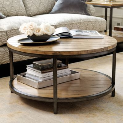 "Durham Round Coffee Table - 18 1/4""H x 33 3/4"" diameter - $400 @ Ballard Designs - opening on bottom shelf (for a basket) should be 23""?"