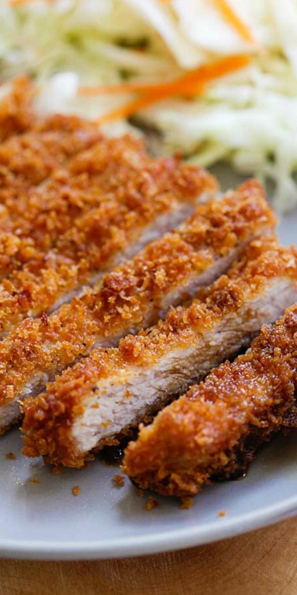 Tonkatsu - Tonkatsu is crispy and crunchy Japanese fried pork cutlet with bread crumbs or panko. Easy and the best tonkatsu recipe ever | rasamalaysia.com
