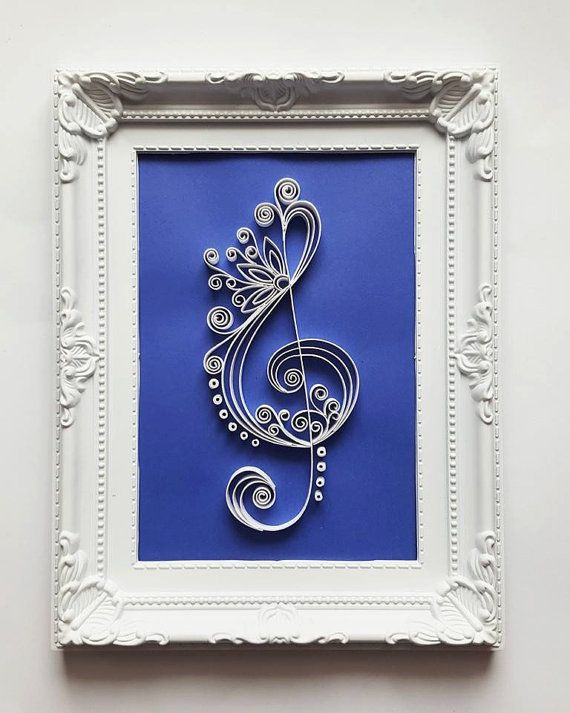 Treble Clef Art Frame - Music Art - Music Wall Art - Paper Art - Musical Artwork - Paper Wall Art - Home Decor - Wall Hanging