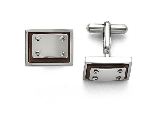 Wood Inlay Stainless Steel Plate Design Cuff Links