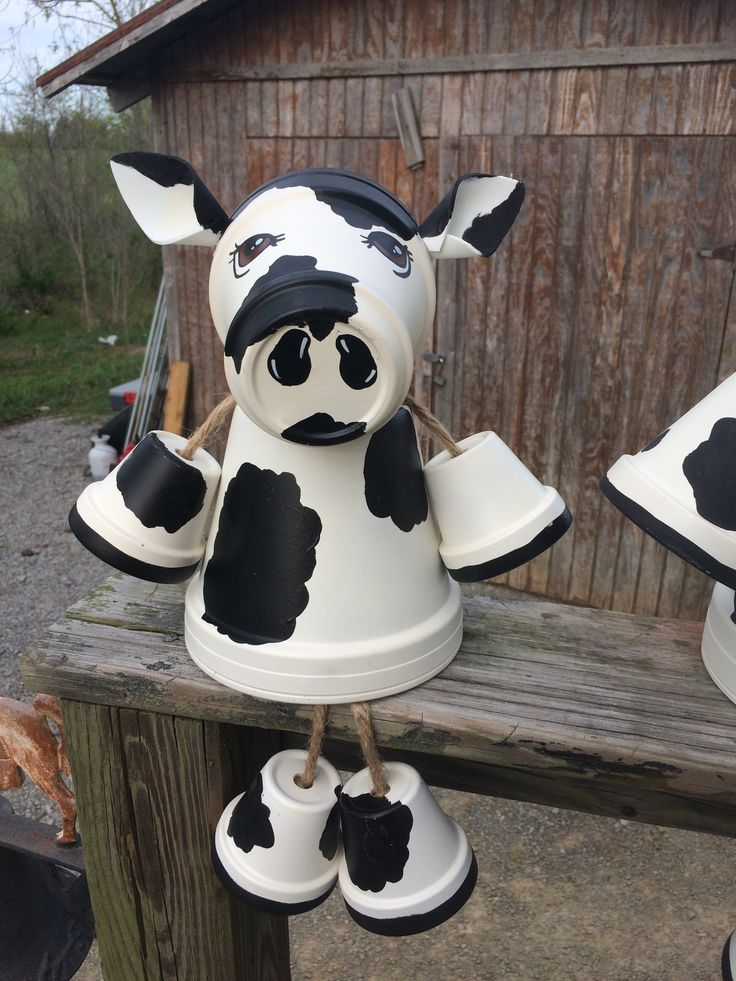Clay Pot Cow Painted Clay Pots Decorated Flower Pots
