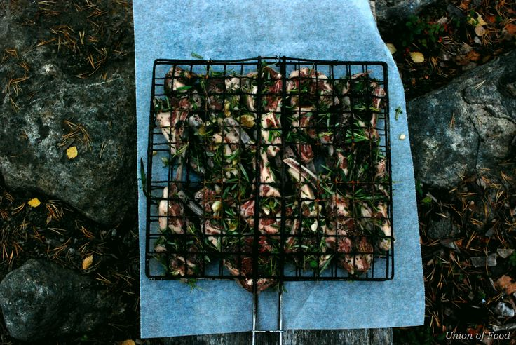 Lamb chops grilled outdoors