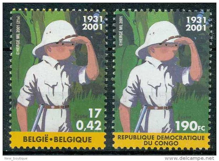NB- Belgique 2001, Bande Dessinée, TINTIN Explorateur, émission Commune Avec Le Congo - Emissions Communes
