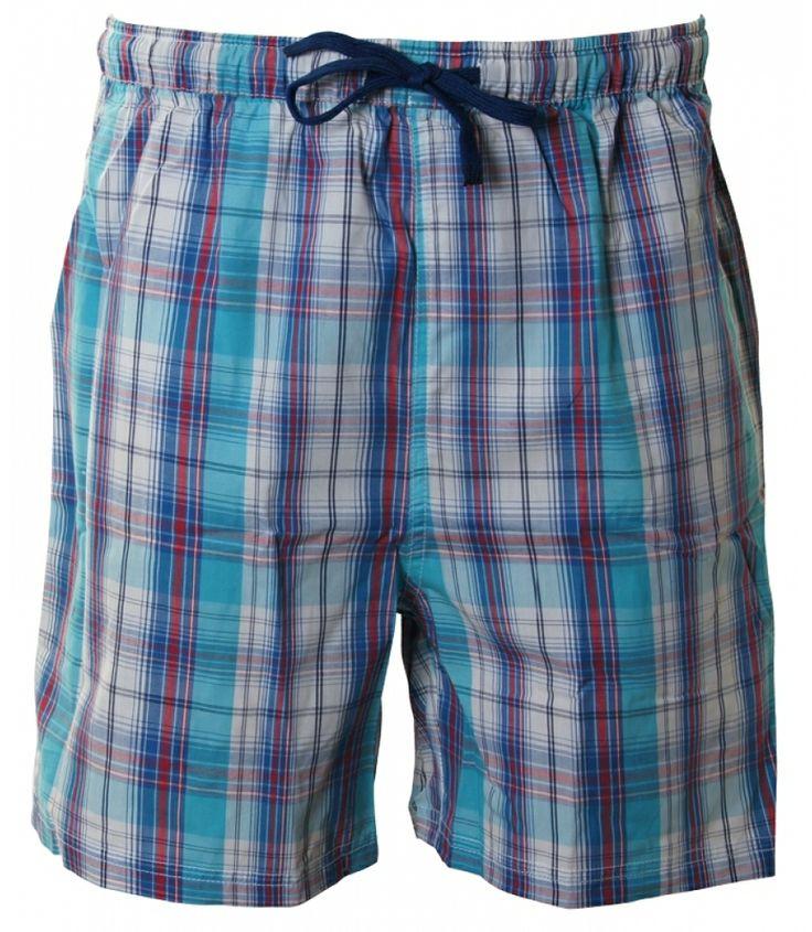 Kurze Pyjamahose von DEAL aus 100% gewebter, leichter Baumwolle in blau/rot/weißem Karodesign. Die Hose hat seitlich 2 große Taschen und eine Tasche auf der Rückseite mit DEAL-Logo-Stick. Für weitere Infos: http://www.boxxers.de/DEAL-Shorty-Karos-blau-rot-weiss