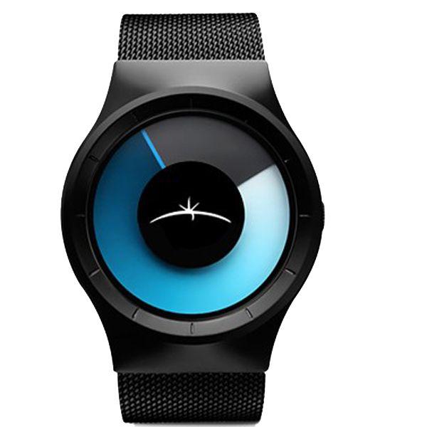 Fashion 3003 Men Round Stainless Steel Black Quartz Wrist Watch