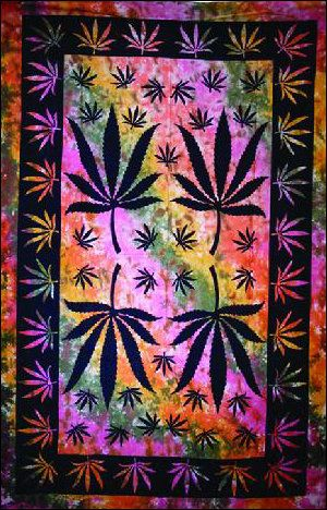 """Marijuana"" Tie-Dye Tapestry"