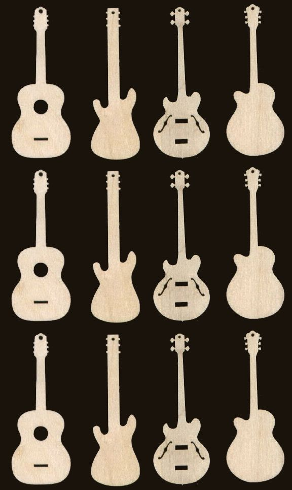 12 Guitar Ornaments 3 inches Tall Natural Craft Wood Cutouts 935-3. $10.99, via Etsy.