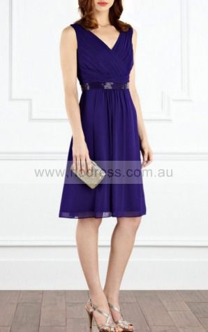 A-line V-neck Knee-length Chiffon Natural Formal Dresses gt2970--Hodress