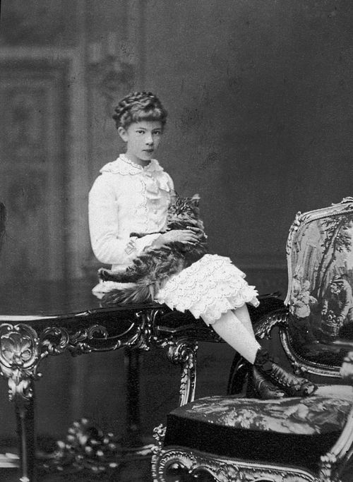 Archduchess Marie Valerie of Austria (22 April 1868 - 6 September 1924), Empress Sissi's favorite child, with cat