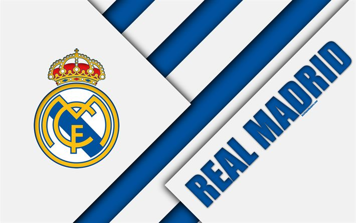 Download wallpapers Real Madrid CF, 4K, Spanish football club, Real Madrid logo, material design, blue white abstraction, football, La Liga, Madrid, Spain