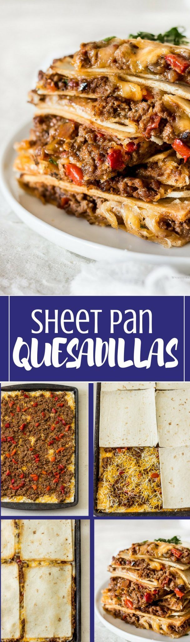 Sheet pan quesadillas are baked in the oven instead of the stove.  These baking sheet quesadillas are made with soft flour tortillas and loaded with ground beef filling, seasoned with Mexican taco seasonings, roasted red peppers, optional homemade salsa mixed with a bit of tomato sauce and of course lots of melted gooey cheese. This is a fun way to make a large quantity of quesadillas in the oven for your family or a crowd fast!