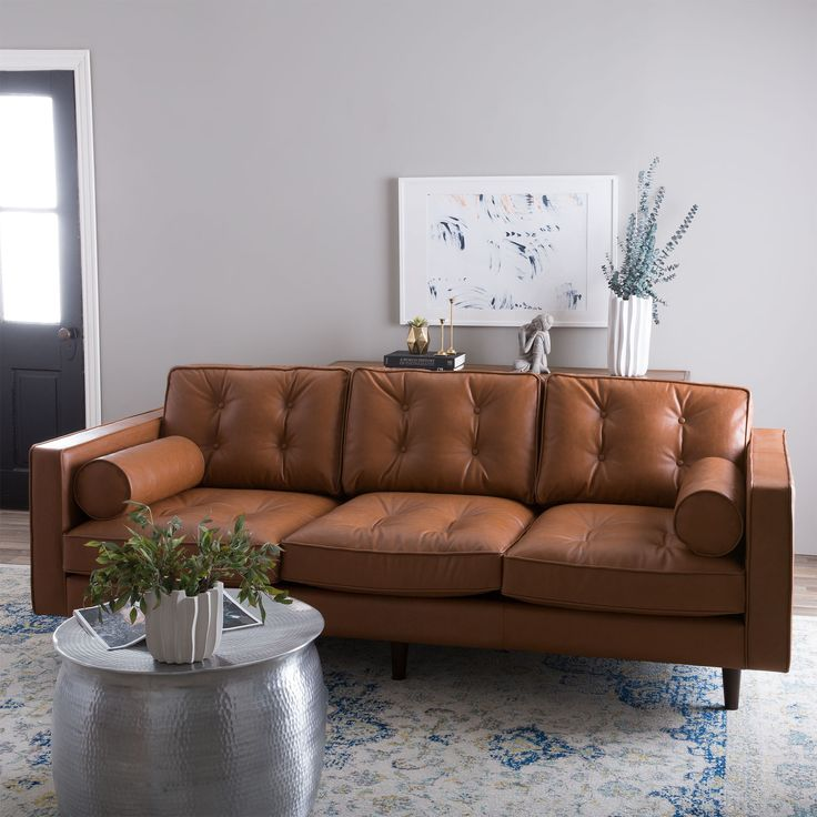 Warm Up Your Decor With The Rich Brown Leather Upholstery Of This Mid Century Modern Home FurnitureLiving Room