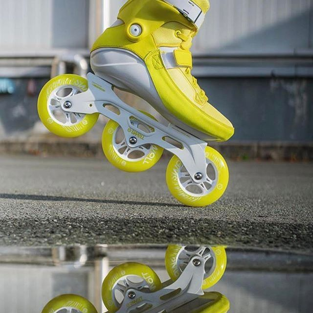 FRESH COLORS!! The powerslide SWELL flash yellow 110 are the triskates you have been looking for to use this spring and summer.💛 📷 @3x3wheels  #welovetoskate  #befreewiththree #inlineskating #powerslide #fitness #powerslideswell