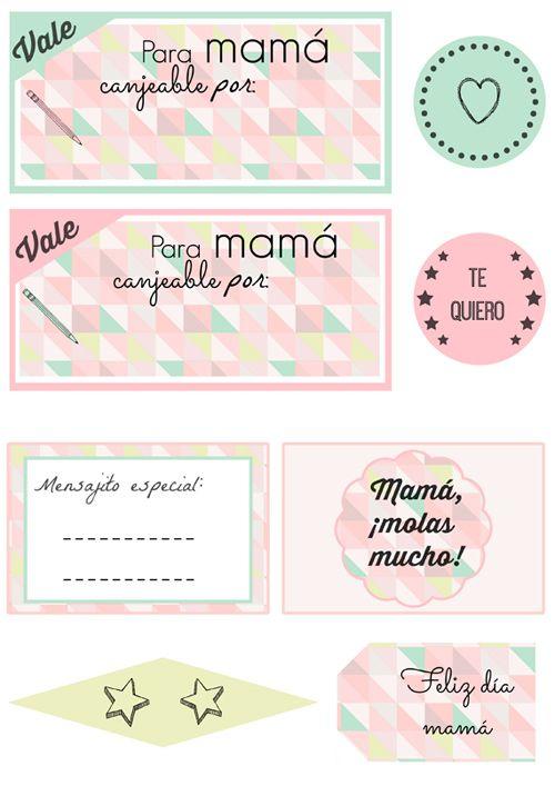 Regalo día de la madre: Kit imprimible DIY: vales, etiqueta, banderin, toppers, tarjetitas...