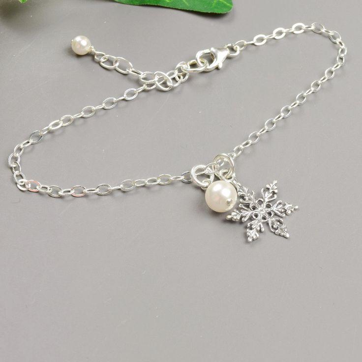 Snowflake Bracelet - Sterling Silver Swarovski Pearl Bracelet - Choose Your Color Pearl - Winter Wedding Bracelet - Snowflake Jewelry by MyDistinctDesigns on Etsy