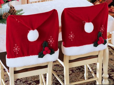 Santa Hat Christmas Chair Covers: make out of red pillowcases and lace trim