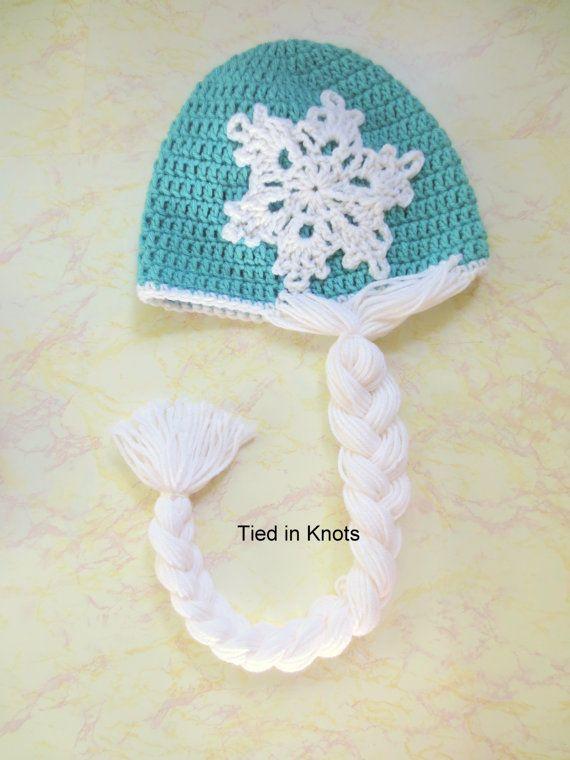 Snow queen chapeau perruque - Crochet Reine des neiges Wig - perruque Reine des neiges - chapeau au Crochet - princesse Braid - Crochet perruque chapeau - robe de princesse en costume
