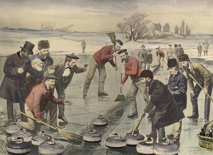 Canada has been a force to reckon with in curling from way back! Here is the Red Jacket Rink of the Toronto Curling Club curling on Toronto Bay in 1872. The sport emigrated to Canada with Scottish settlers, and became an Olympic sport in 1998. This year, Canada dominated the first-ever Mixed Doubles curling event in the Olympics, winning gold earlier this week.