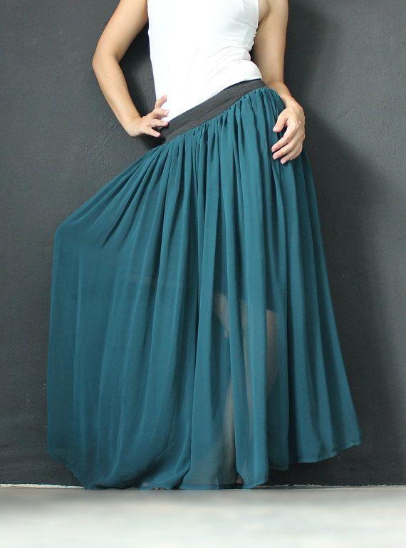 New Circle Long Skirt Women Chiffon Maxi Skirt Wide Flowing Full Summer Green Skirt Xmas Gift