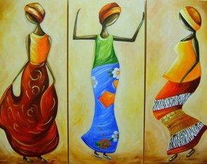 Quadro Abstrato Dança Africanas Cod 1714