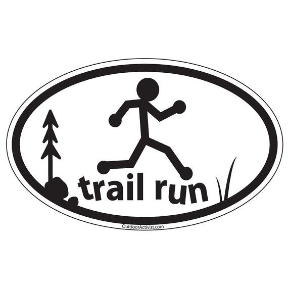 Running trail runner oval decal  trail run by OutdoorActivist, $2.99