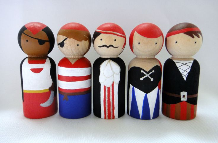 Pirate Peg Doll Set by PeggedByGrace on Etsy, $30.00