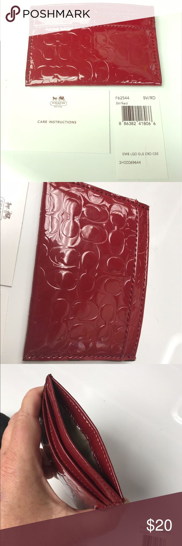 """NWT Coach F62544 red liquid gloss credit card case NWT AUTHENTIC Coach F62544 SV/RD embossed """"c"""" burgundy red liquid gloss credit card case. Two pockets on one side, one on the other. Beautiful! Never used. Smoke free home. Coach Bags Wallets"""