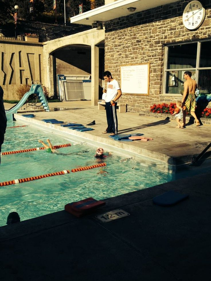 Volunteering to coach swimming to young children at the Radium pools near Invermere, BC.