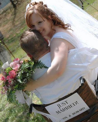 """wheelchair wedding photos... """"Just Married... Now its time to PARTY!"""""""