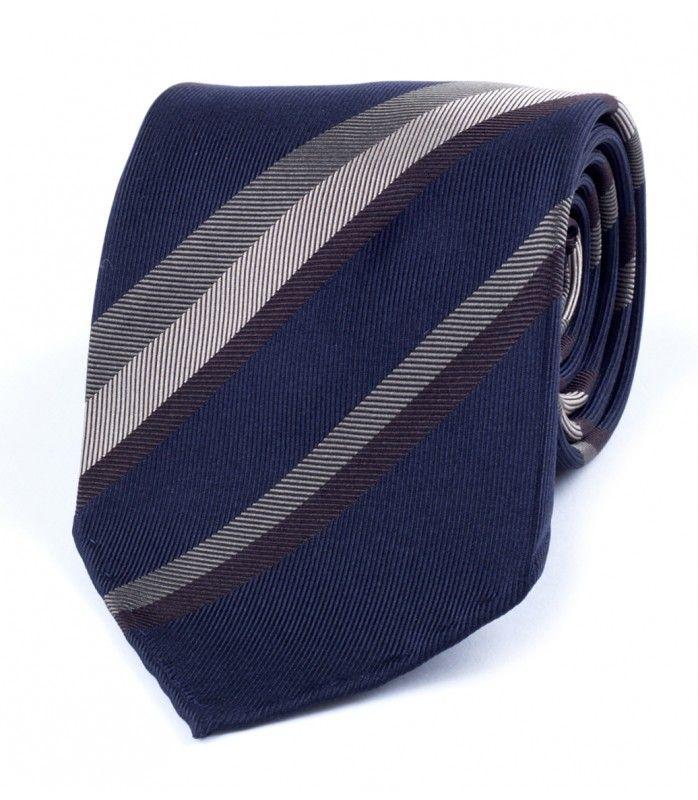 Navy/Khaki Woven Stripe Washed Jacquard Silk Tie