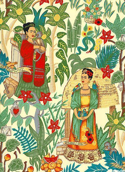 Frida's garden. Fabric .