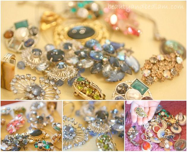 Don't throw it away. Here are 10 creative Ideas for using vintage or old costume jewelry. Home Decor ideas and more.