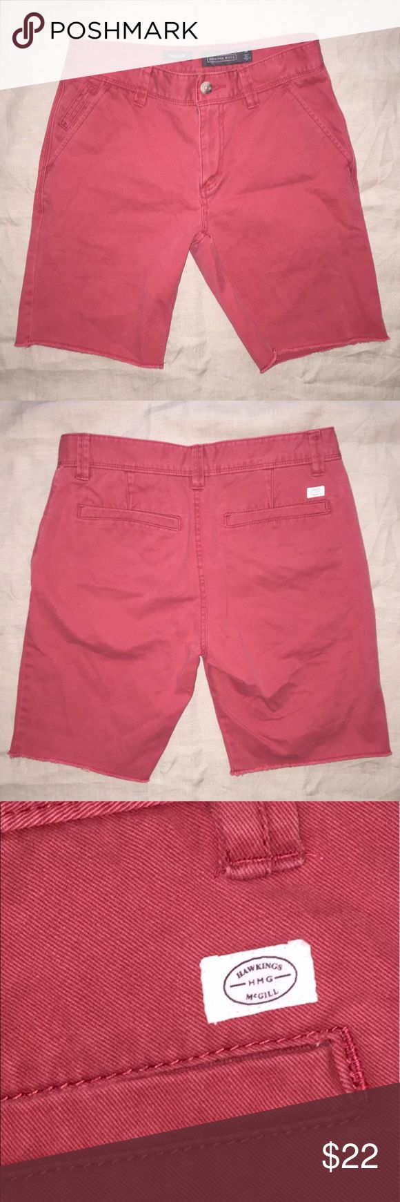 """Mens Urban Outfitters Hawkings McGill Chino shorts Men's Chino shorts by Hawkings McGill from Urban Outfitters. Light red with garment washed finish. Size 30; waist - 15.5""""; inseam - 9"""" Urban Outfitters Shorts Flat Front"""