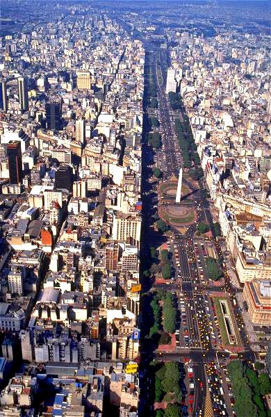 9 de Julio, The world's widest avenue.  Buenos Aires, ARGENTINA.