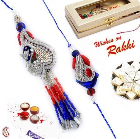 Picture of Silver Zardosi Peacock Bhaiya Bhabhi Rakhi Set with Beads