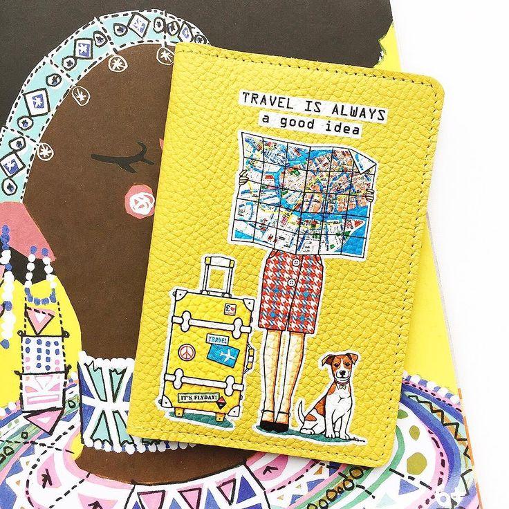 Путешествие - это всегда отличная идея💛✈️🌎 Солнечная обложка на паспорт из мягкой натуральной кожи by #GirlsinBloom ✏️🎨 Посмотреть,  как обложка выглядит внутри и с обратной стороны, можно на www.girlsinbloom.ru #отпуск #загранпаспорт #путешествие #обложканапаспорт #иллюстрация