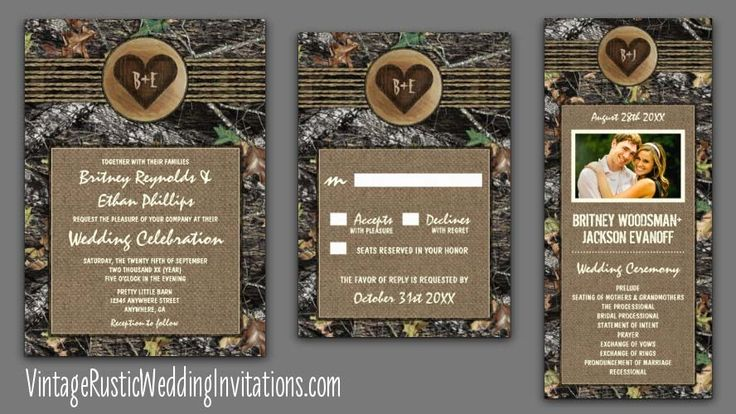 Carved Heart Themed Camo Wedding Invitations
