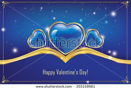Happy Valentine's Day! blue greeting card with hearts. Print colors used; Space for your own message.