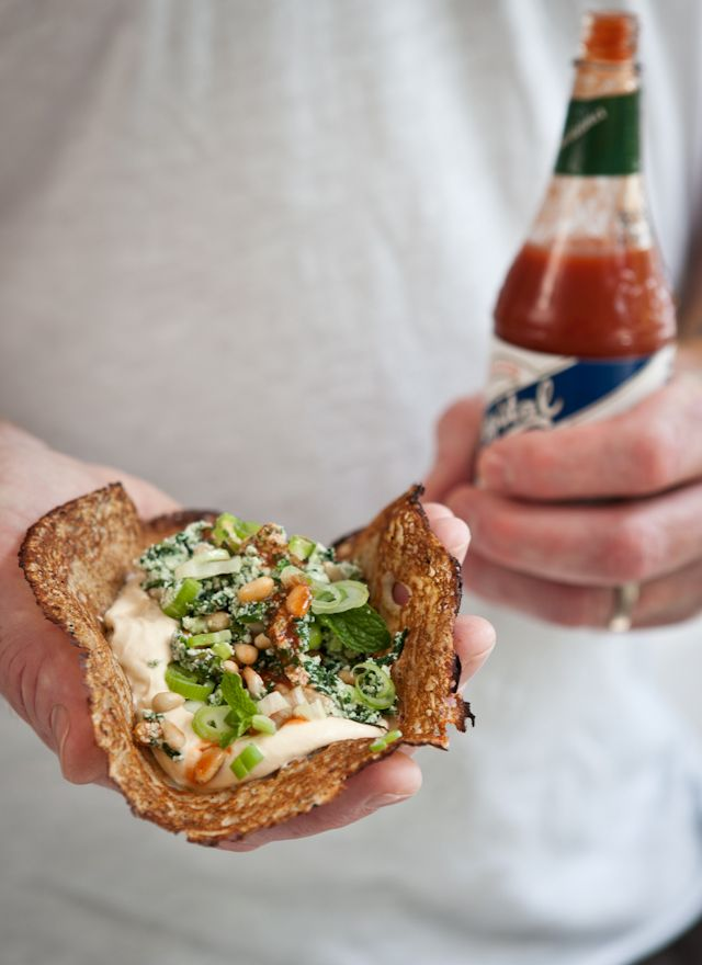 Not your typical sandwich, and it sounds and looks yummy!  Buckwheat Pancakes with Spinach, Ricotta and Pine Nuts, Sour Cream and Hot Sauce.