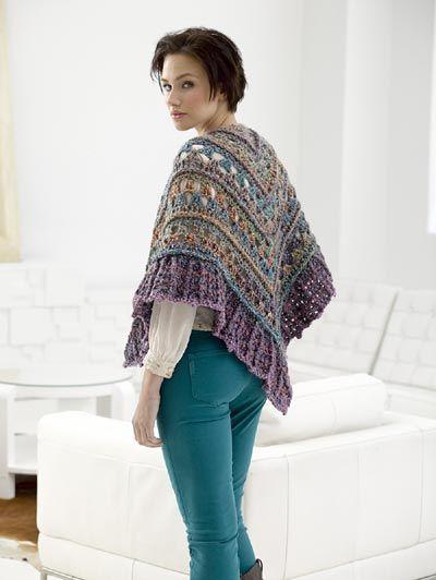 Free Crochet Pattern L30267 using homespun yarn. Falling Water Shawl : Lion Brand Yarn Company